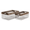 Benzara Classy Styled Metal Wood Basket Set Of 2