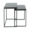 "Metal Wood Nestng Table S/2 22"", 25""H, Gray"