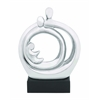 "Ceramic Royal 10""W Abstract Figure In Silver And Black Stand"