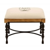 Metal Wood Fabric Stool Encased With A Soft Cushion