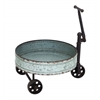 Benzara Vintage Barrel Cart With Iron Handle And Wheels