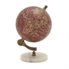 Fancy Wood Metal Marble Globe, Maroon, Rustic Gold
