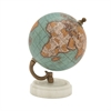 94444 Attractive Wood Metal Marble Globe, Multicolor