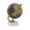 94446 Classy Wood Metal Marble Globe, Multicolor