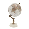 94449 Classy Wood Metal Marble Globe, Multicolor