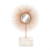 Alluring Metal Marble Mirror Copper Sculpture, Copper & White