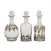 Fabulous Glass Metal Stopper Bottle, Translucent, Set Of 3