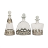Charming Glass Metal Stopper Bottle, Translucent, Set Of 3