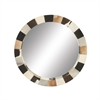 Attractive Wood Real Leather Wall Mirror, Multicolor
