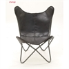 Adorable Metal Real Leather Black Chair, Black