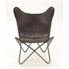 Classy Metal Real Leather Brown Chair, Brown