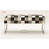 Endearing Steel Leather Hide Bench, Multicolor