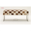 Ravishing Steel Leather Hide Bench, Multicolor
