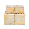 "Wood Leather Gold Box S/2 10"", 11""W, White, Gold"