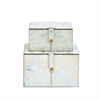 "Wood Leather Silver Box S/2 8"", 10""W, White, Silver, Gold"