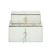 "Wood Leather Silver Box S/2 10"", 11""W, White, Silver"