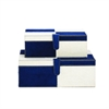 """Wood Leather Navy Box S/2 14"""", 17""""W, White"""
