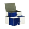 "Wood Leather Navy Box S/2 10"", 11""W, White"