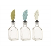 "Benzara Incredible Glass Metal Stopper Bottle 3 Assorted 3""W, 9""H"