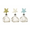 "Brilliant Glass Metal Stopper Bottle 3 Assorted 4""W, 8""H"