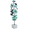 "Metal Leaf Sculpt 8""W, 28""H, Cyan, Black, Gray"