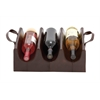 Benzara The Stunning Wood Real Leather Wine Holder