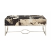Benzara Classy Stainless Steel Leather Bench