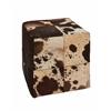 Benzara Wonderful Wood Leather Square Ottoman