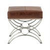 Benzara Adorable Steel Leather Foot Stool