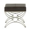 Benzara Endearing Steel Leather Foot Stool
