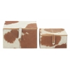 "Benzara Modish Wood Leather Hide Box Set Of Two 8"", 10""W"
