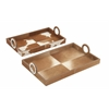 Sassy Set Of Two Tan Hair On Rectangle Tray