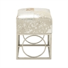 Fascinating Stainless Steel Leather Hide Silver Stool, Multicolor