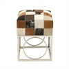 Lovely Stainless Steel Leather Hide Patch Stool, Multicolor