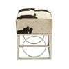 Charming Stainless Steel Leather Hide Black And White Stool, Multicolor