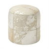 Chic Wood Leather Hide Silver Ottoman, Silver and Beige