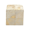 Attractive Wood Leather Hide Gold Ottoman, Gold and Beige