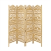 Attractive Screen 4 Panel, Golden and White