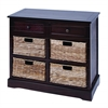 Benzara Mastercraft Basket Cabinet With 4 Wicker Baskets