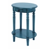 Benzara Classic Accent Table With Mahogany Aqua Blue Wood