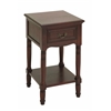 Benzara Wood Accent Table In Brown Finish With Glossy Lacquer