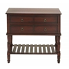 Benzara Wood Console In Mahogany Brown Shade With Smoothly Finish