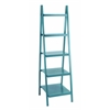 "Spacious And Solid Durable 65""H Wooden Leaning Shelf In Blue"