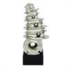 "Ceramic Silver Abstract 12""W, 29""H, Silver, Black"
