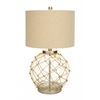 Benzara Beautiful Glass Metal Table Lamp With Space Efficient