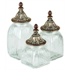 Benzara Polystone Glass Canister Set Of 3 For Dancing Lights