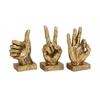 Benzara Peeling Off Textured Polystone Hand Signs Set Of 3
