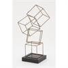 Stunning Metal Square Table Sculpture, Beige and Black