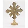 Antique Wood Metal Table Cross, Antique Gold