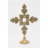 Attractive Wood Metal Table Cross, Antique Gold